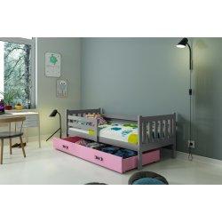 "Pilka vaikiška lova su stalčiumi 190x80 cm - ""Carino"""