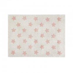 Šviesus vaikiškas kilimas su rožinėmis žvaigždelėmis