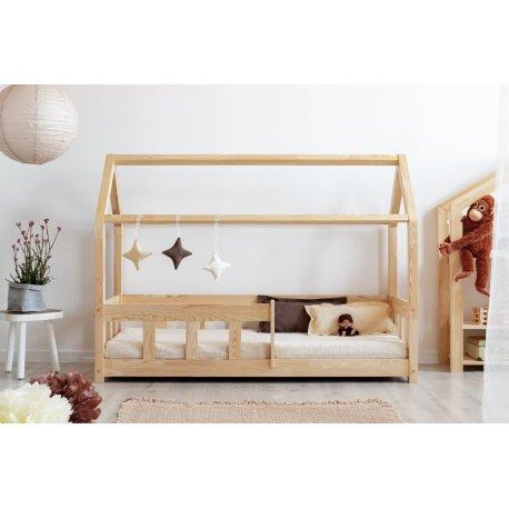 Natūralios medienos viengulė lova su apsauga