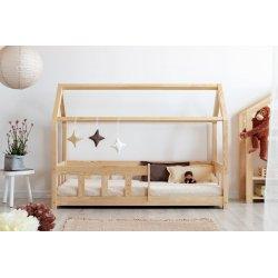 Natūralios medienos viengulė lova - namas su apsauga