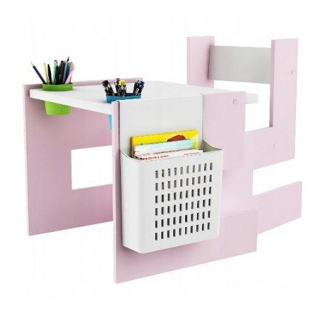 Rožinis stalas su kėdute bei priedais