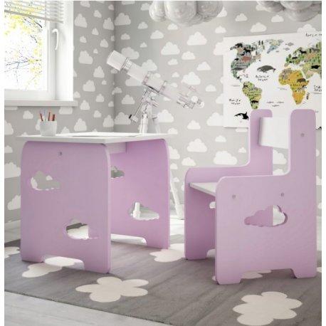 """Rožinis vaikiškas staliukas su kėdute - """"Debesėlis"""""""