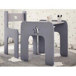 """Pilkas vaikiškas staliukas su kėde - """"Žvaigždelė"""""""