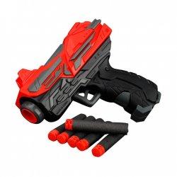 Juodas vaikiškas pistoletas su šoviniais