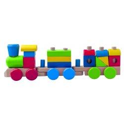 Medinis traukinukas su kaladėlėmis 2+
