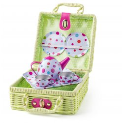 Pikniko krepšelis su arbatos gėrimo rinkiniu