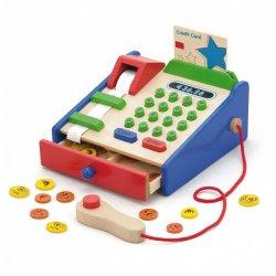 Medinis vaikiškas kasos aparatas su priedais