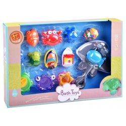 Vonios žaislų rinkinys: valtys, puodukai, gyvūnai