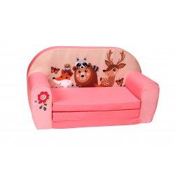"""Minkšta vaikiška rožinė sofa - """"Miško gyventojai"""""""