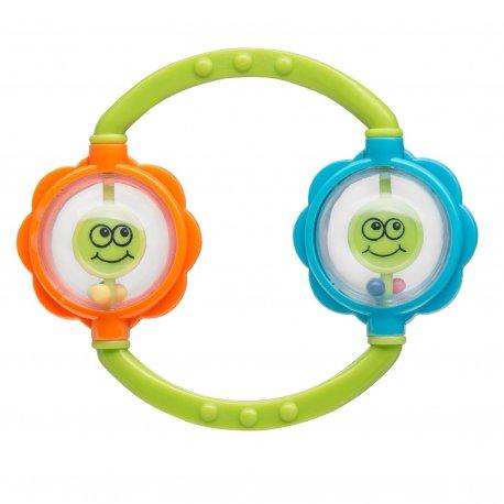 Kūdikių barškutis su dviem kamuoliukais