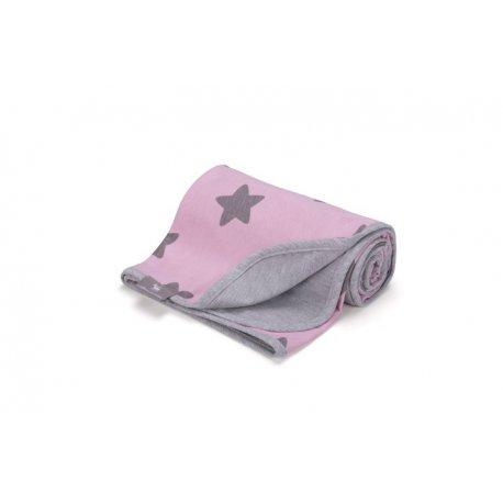 Vaikiškas plonas pledukas rožinis su žvaigždelėmis 80 x 90 cm