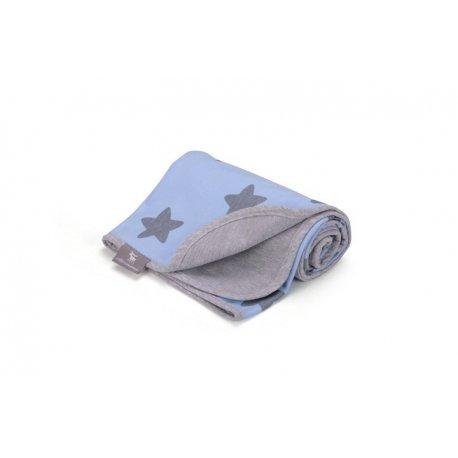 Vaikiškas plonas pledukas mėlynas su žvaigždelėmis 80 x 90 cm