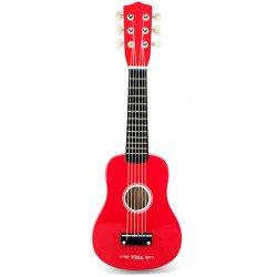 Raudona medinė gitara vaikams