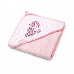 Rožinis BabyOno rankšluostis su gobtuvu 100x100