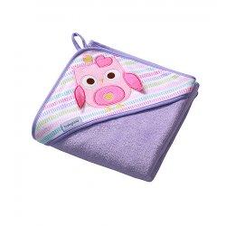 """Violetinis rankšluostis vaikams """"Pelėdžiukas"""" 100 x 100 cm"""