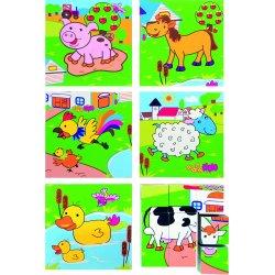 Vaikiškos kubelių dėlionės su naminiais gyvūnais 3x3