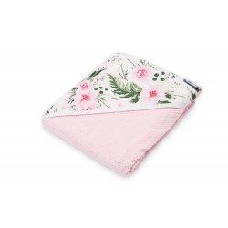 Rožinis rankšluostis su gėlėtu gobtuvu 100 x 100 cm