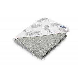 Pilkas rankšluostis su gobtuvu 100 x 100 cm