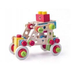 Medinis sukonstruojamas automobilis kibirėlyje 144 dalys