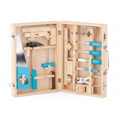 Metaliniai darbo įrankiai medinėje dėžutėje 5+
