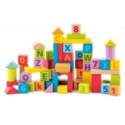 Pastelinių spalvų medinės kaladėlės su skaičiais ir raidėmis 60 vnt 2+