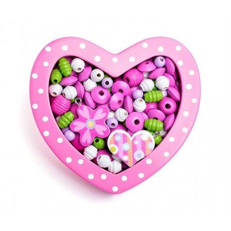 """Mini karoliukų rinkinys """"Rožinė širdelė"""""""