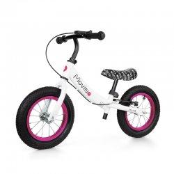 """Baltas balansinis dviratis su rožiniais akcentais - """"Adventure"""""""