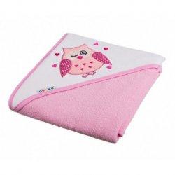 Rožinis vaikiškas rankšluostis su gobtuvu 100x100 cm