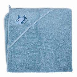 """Cebababy mėlynas rankšluostis """"Ryklys"""" 100 x 100 cm"""
