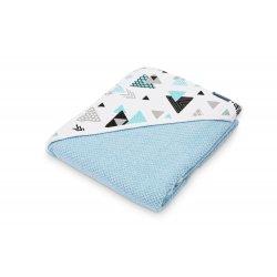 Mėlynas rankšluostis su gobtuvėliu 100x100 cm