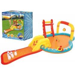 Pripučiamas baseinas su čiuožykla ir žaisliukais