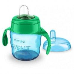 Mėlynas buteliukas su žaliomis rankenomis 200 ml 6+