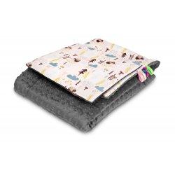 Pilkas pledo komplektas su pagalvėle