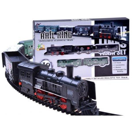 Tamsus elektrinis traukinukas su vagonais