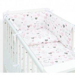 Patalynės komplektas su lovytės apsauga - Širdelės 3 dalys