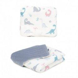 "Dvipusė pagalvė + antklodė - ""Dinozaurai"" 75x100 cm"