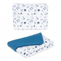 Mėlyno atspalvio pagalvė + antklodė - Kosmosas, 75x100 cm