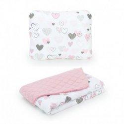 Pagalvė + dvipusė antklodė - širdelės, 75x100 cm