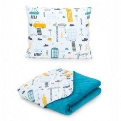 """Žydrų atspalvių pagalvė + antklodė - """"City"""" 75x100 cm"""