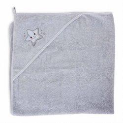 """Pilkas rankšluostis su gobtuvu - """"Žvaigždė"""" 100x100 cm"""