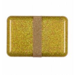 Auksinės spalvos blizgi užkandžių dėžutė