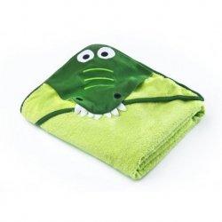 Žalias rankšluostis su gobtuvu - krokodilas 100x100 cm