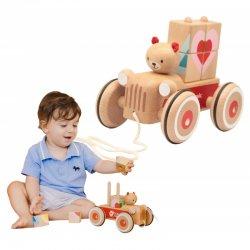 Medinis traukiamas žaisliukas su kaladėlėmis
