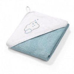 "Mėlynas BabyOno rankšluostis su gobtuvu - ""Debesėlis"" 76x76 cm"