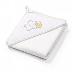 Baltas BabyOno rankšluostis su gobtuvu - Žvaigždutė 76x76 cm