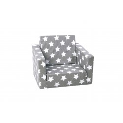 Pilkas išsiskleidžiantis foteliukas su žvaigždelėmis