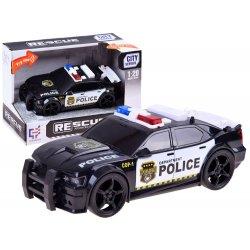 Juodas policijos automobilis su sirena ir švieselėmis