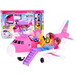 Rožinis lėktuvas su įvairiais priedais
