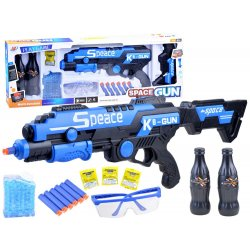 Mėlynas šautuvas su įvairiais priedais