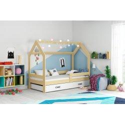 Medžio spalvos lova-namas su čiužiniu 160x80 cm
